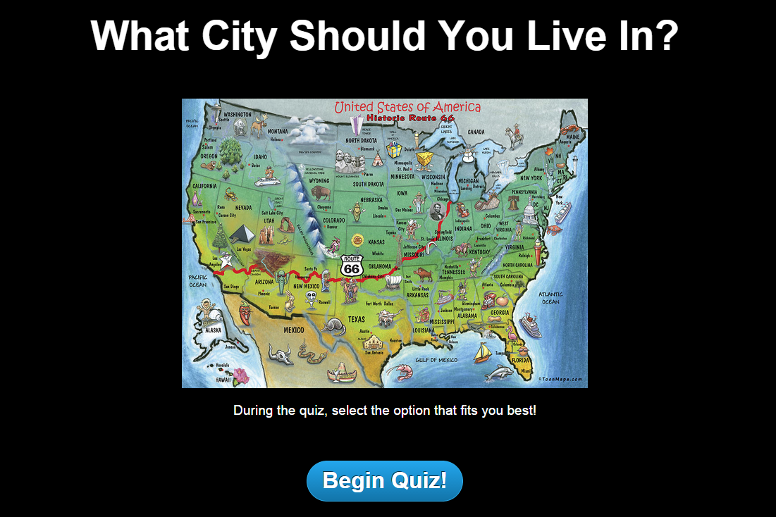 City Quiz Welcome Screen