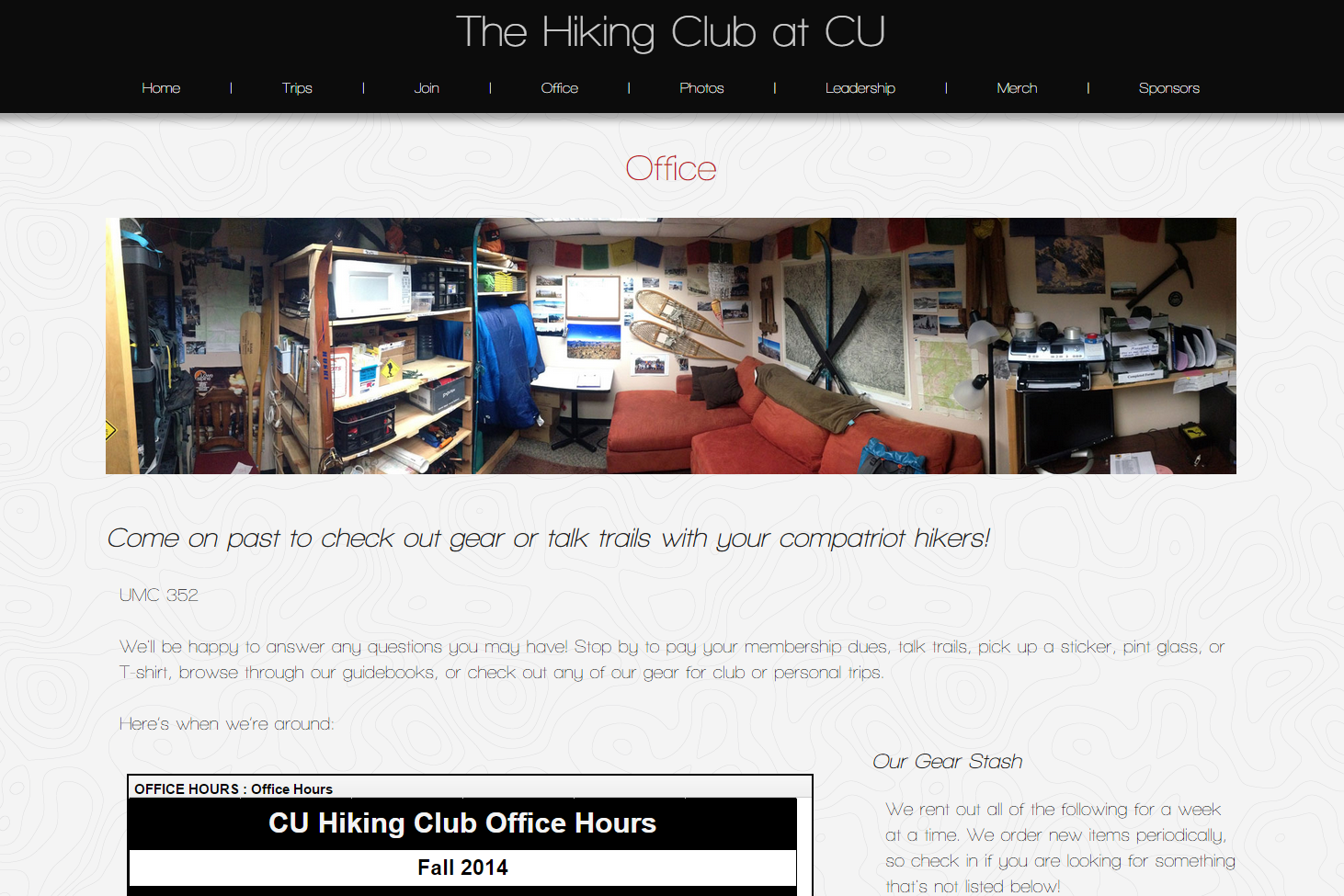 The Hiking Club Office at CU Boulder